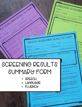 Free Speech Language And Speech Fluency Screening Results Forms