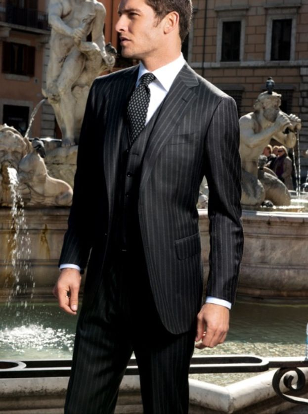 Very sharp black pinstripe suit