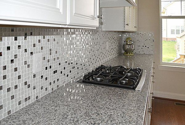 Luna Pearl Granite Countertop Glass Tile Kitchen Backsplash White