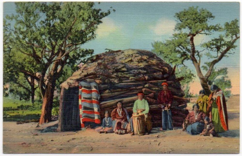 Vintage Linen Postcard Navajo Indians on The Reservation