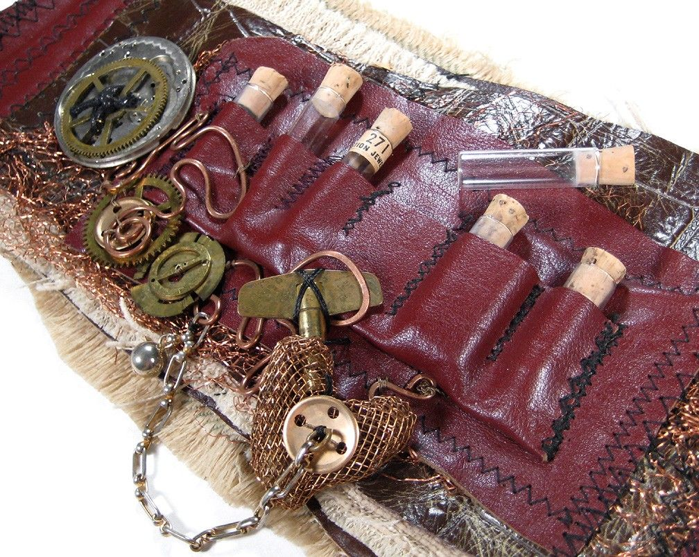 steampunk cuff leather pockets 3d wrist cuff vials vintage. Black Bedroom Furniture Sets. Home Design Ideas