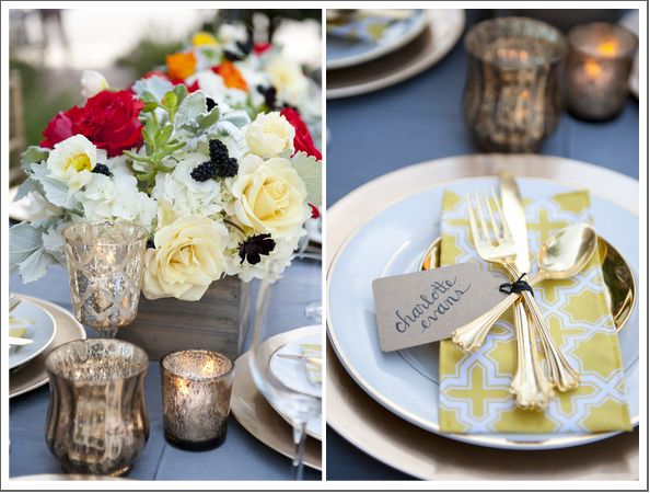 Pretty wedding tablescape in golds Photo: www.christaelyce.com/