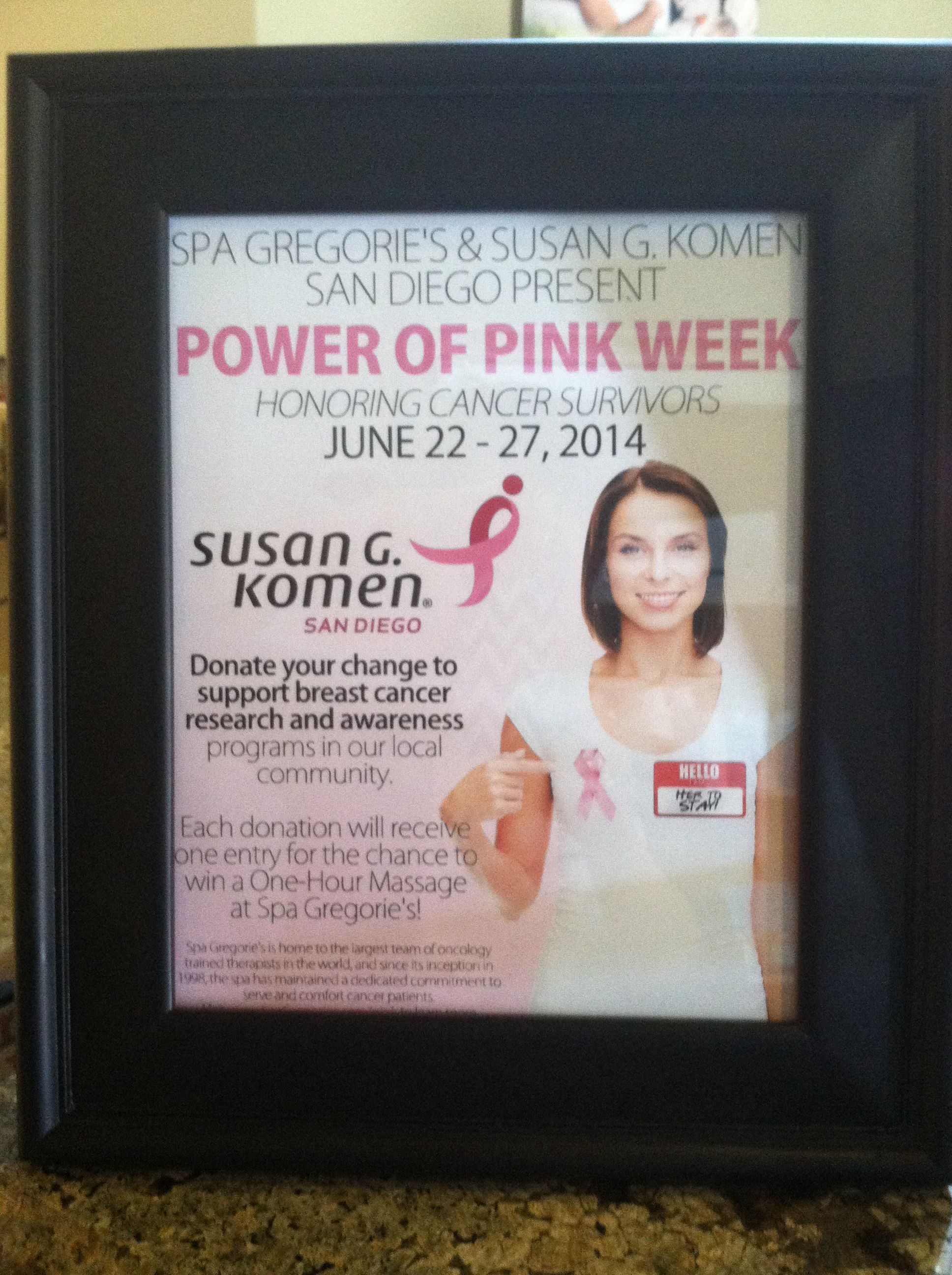 Spa Gregorie's and Susan G. Komen San Diego present Power of Pink Week! #charity #cure #survivor
