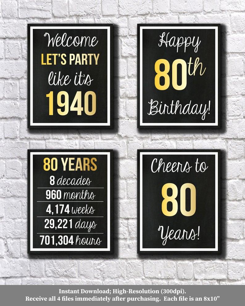 80th Birthday Gold 1940 Signs 80th Birthday Digital Posters Etsy 40 Compleanno 60esimo Compleanno Compleanno Uomo