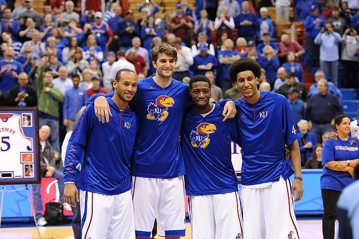 The senior players gather up before the match against Texas Tech Monday night March 4 in Allen Fieldhouse for senior night. Kansas defeated the Red Raiders 79-42.