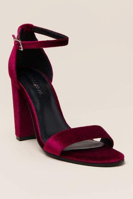 41ecf85b40 Indigo Rd Bradlee Velvet Block Heel - Wine   Products   Velvet block ...