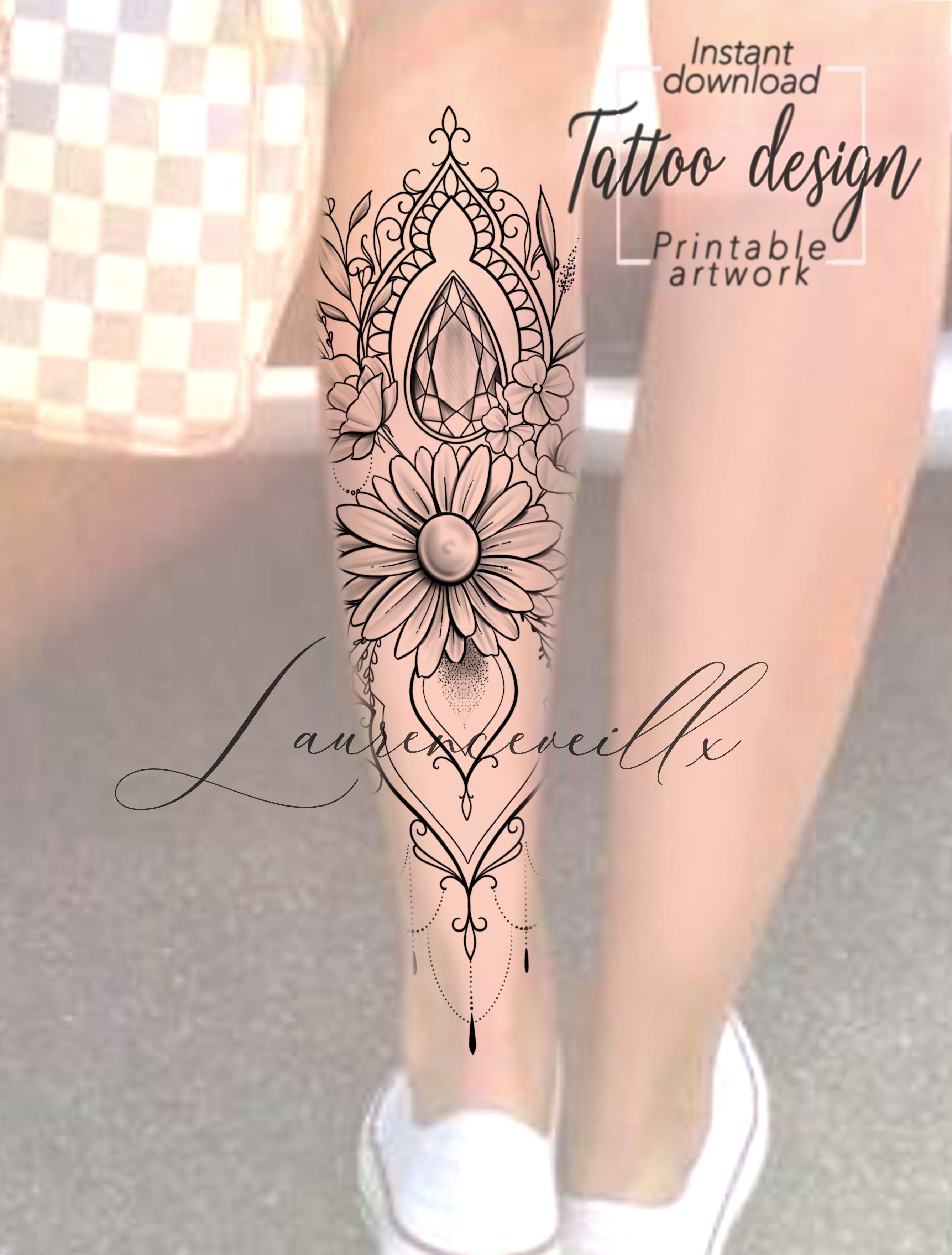 Daisy Flower Leg Tattoo Design For Woman Design Available On Etsy Laurenceveillx Tattoo Designs Sleeve Tattoos Printable Tattoos
