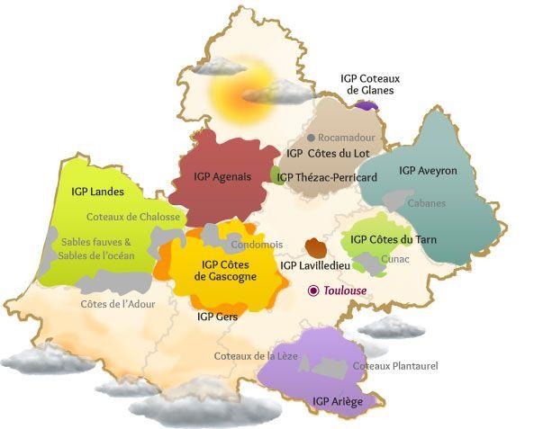 Carte des autres IGP | Vin du sud ouest, Sud ouest, Vin