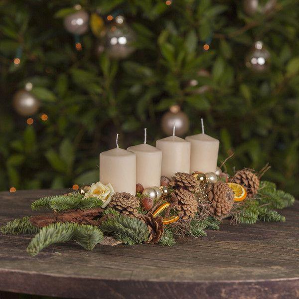 adventskranz natur adventsgesteck creme von missbellflower. Black Bedroom Furniture Sets. Home Design Ideas