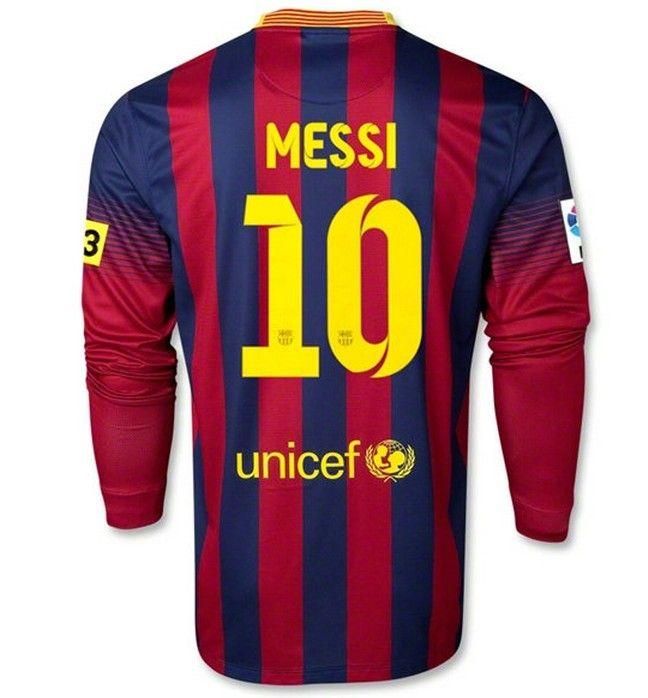 size 40 7aa79 3dc96 Barcelone 2013-2014 maison manche longue maillots de football (10 MESSI)