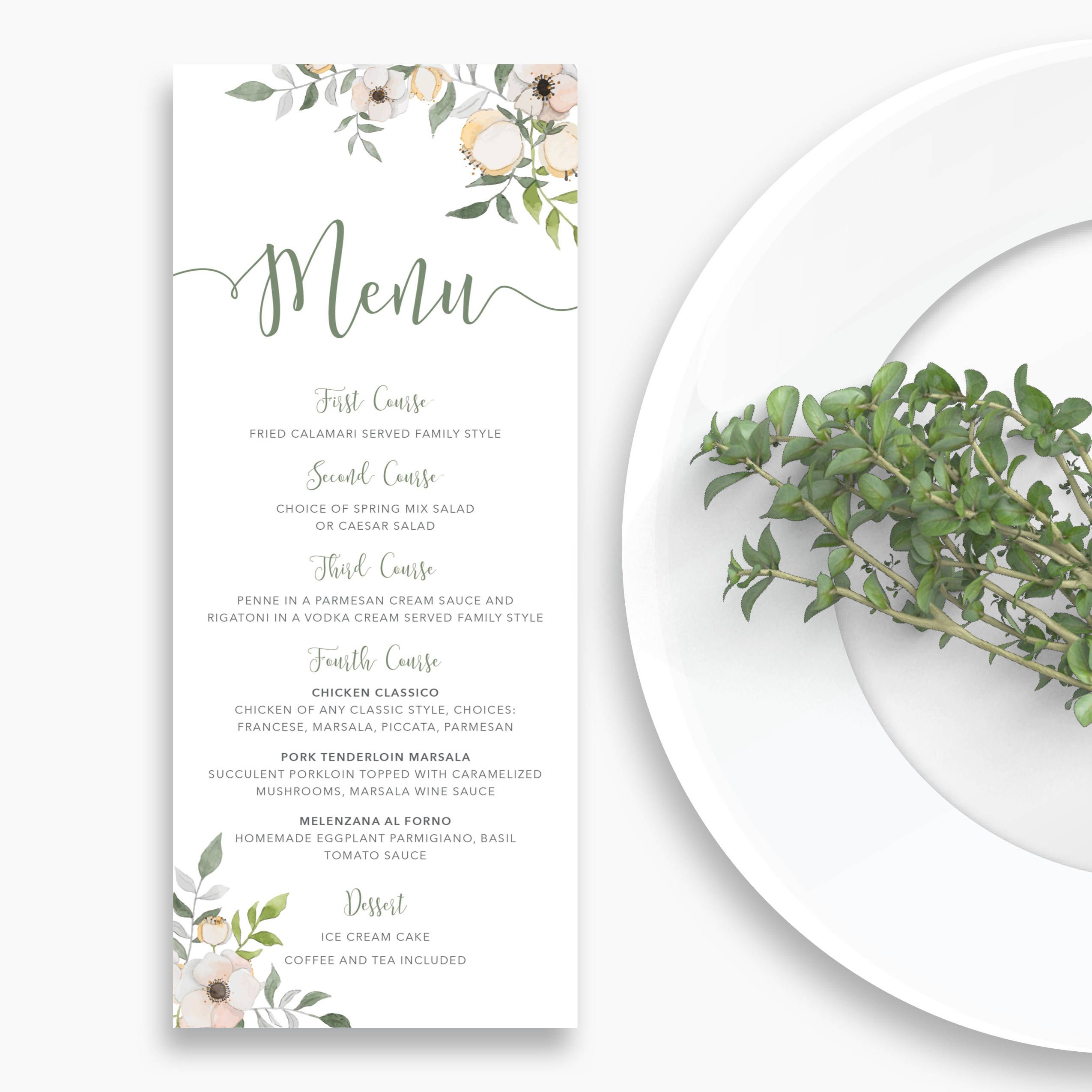 4X9375 Floral Wedding Food Menu Card Design