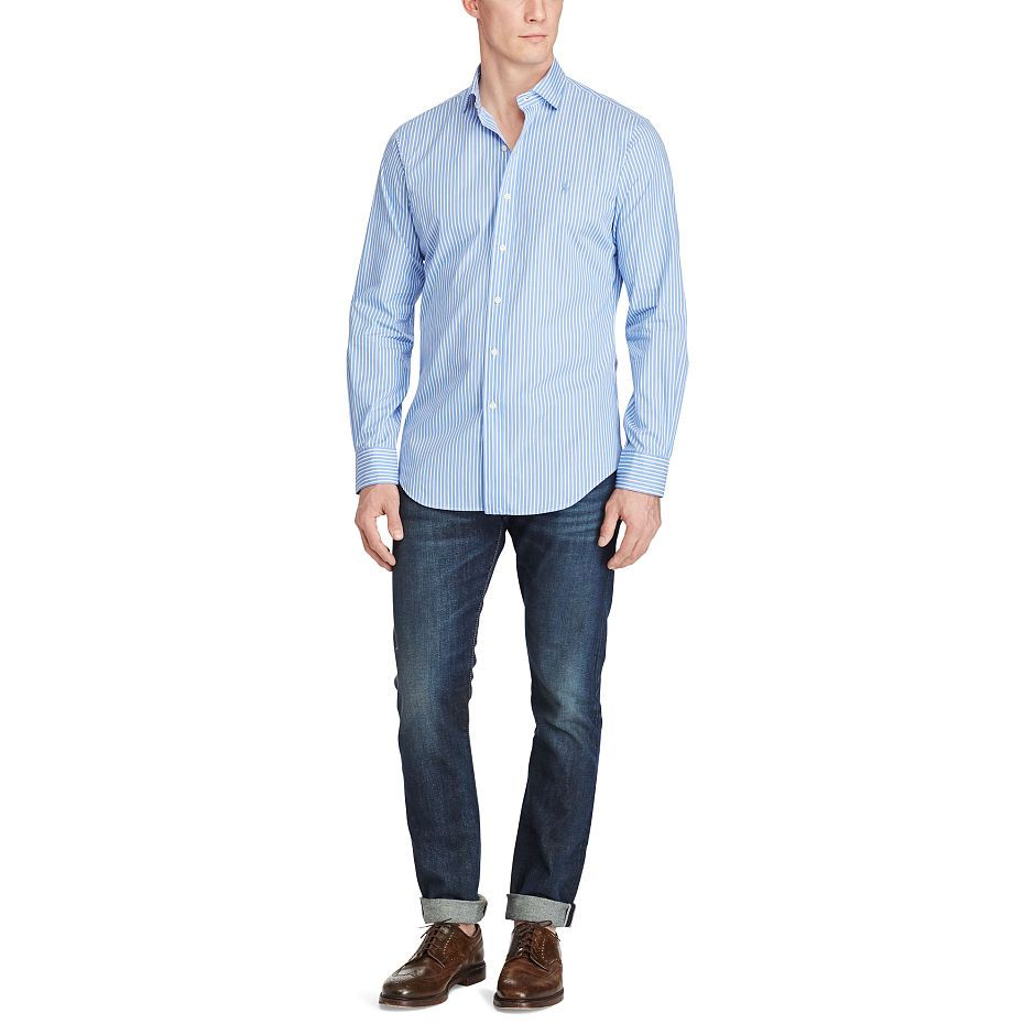 Slim fit striped cotton shirt mens pinterest