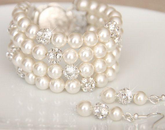 Bridal Jewelry Bracelet and Earrings, Ivory Swarovski Pearl Bridal Jewelry Bracelet, Pearl Earring, art. 181 Diva