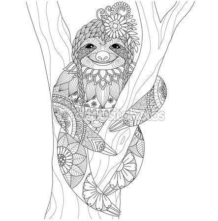 Diseño de pereza zentangle para colorear libro para adultos y otras ...