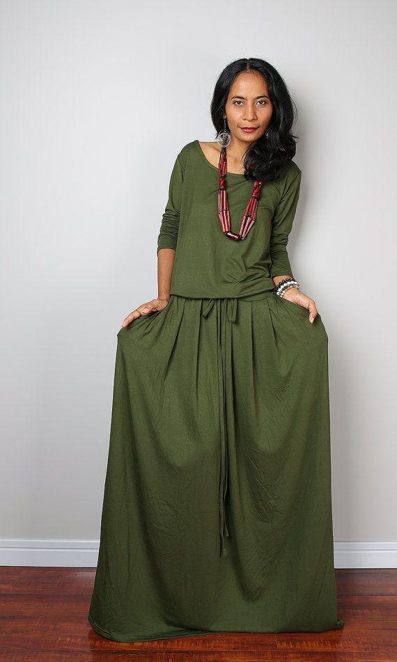 b2a87ba75090 ... floor length holiday dress. Green Maxi Dress - Long Sleeve Khaki dress  : Autumn Thrills Collection No.1 (Best Seller)