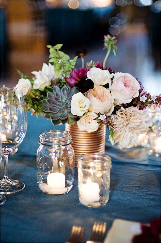 45 Charming Inexpensive Country Tin Can Wedding Ideas Mason jar