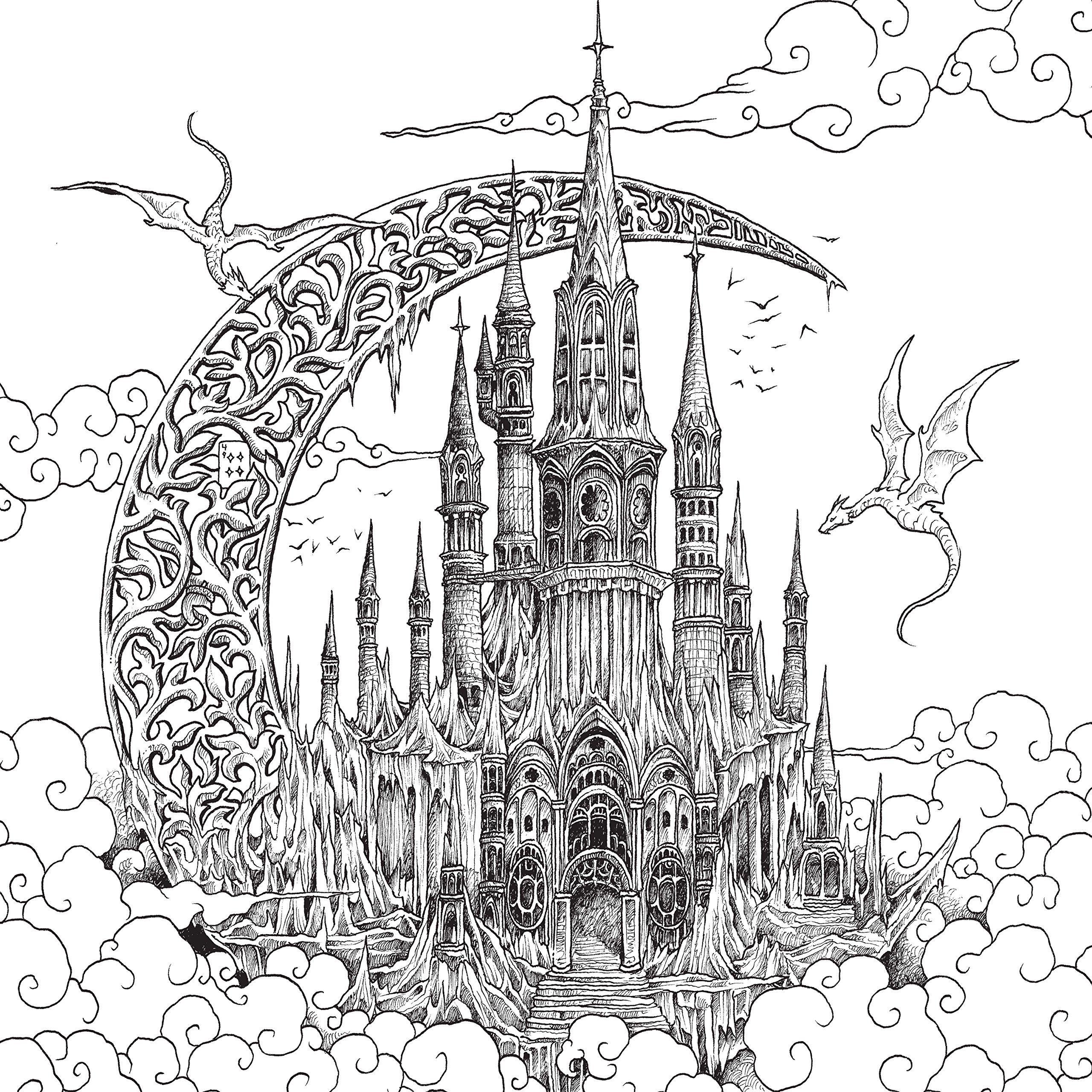Раскраски «Драконы» - «Драконы летают над замком ...