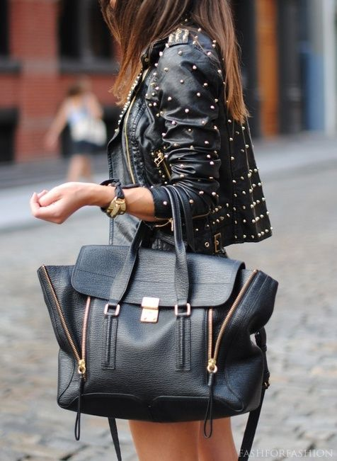 Stud, black & leather! Rocker chic for fall. ::M::