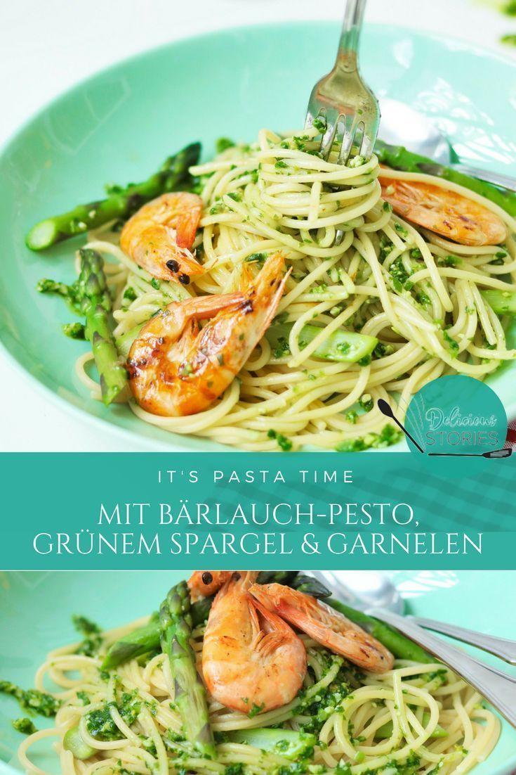 Pasta mit Bärlauch-Pesto, grünem Spargel & Garnelen
