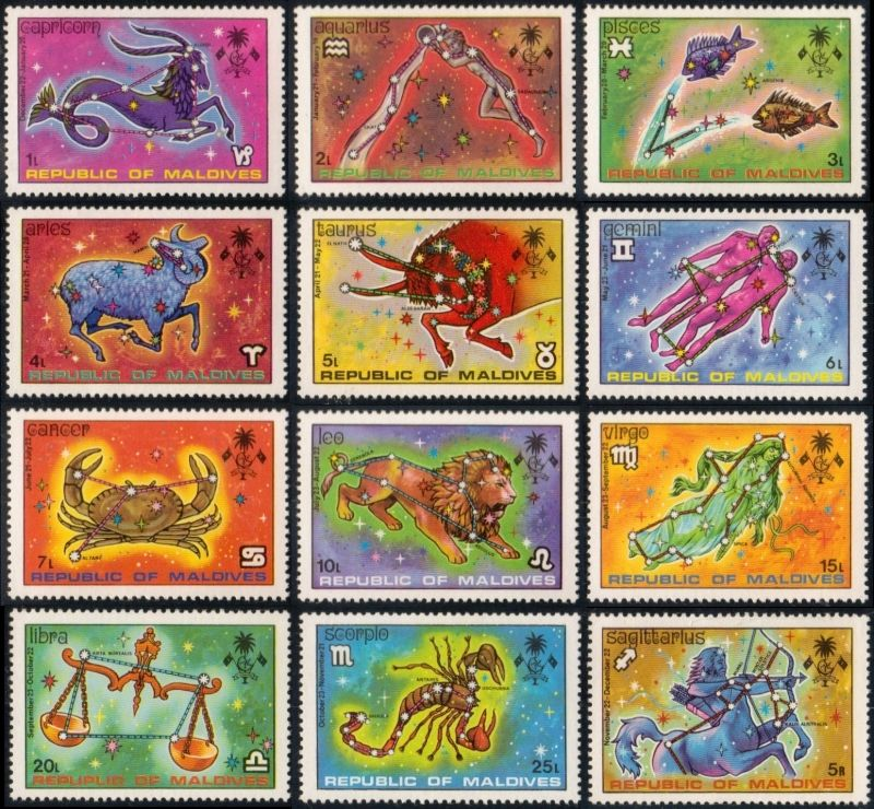Republic of Maldives zodiac stamp series, 1974 Stuff We