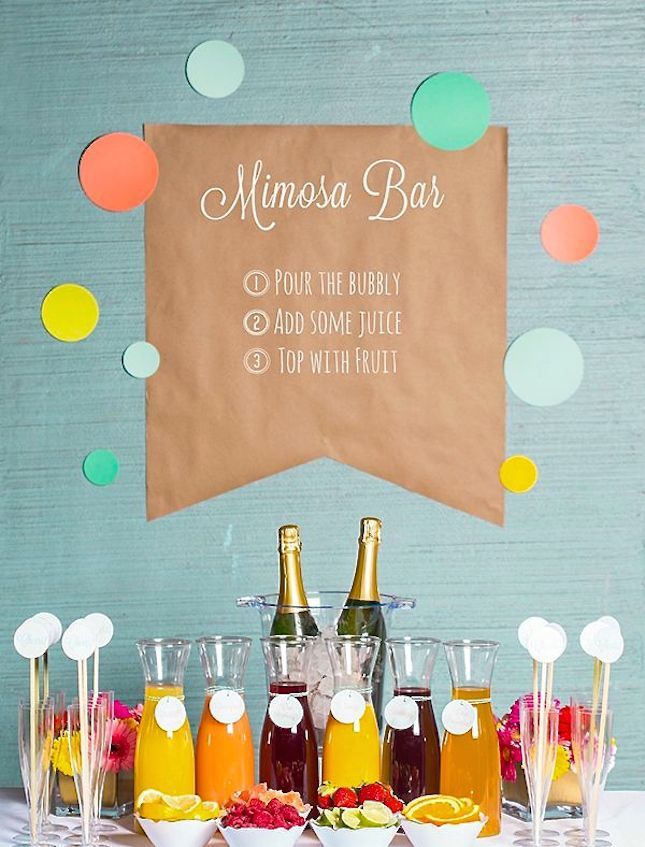 50th Birthday Party Ideas: Colorful Mimosa Bar #50thBirthdayPartyIdeas #50thBirthdayIdeas #50thBirthday