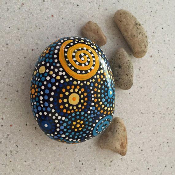 Rock Art Painted Rock Hand Painted Stone Mandala Design Painted Rocks Natural Home Decor