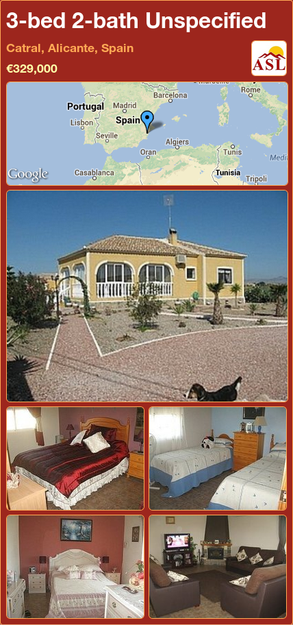 3-bed 2-bath Unspecified in Catral, Alicante, Spain ►€329,000 #PropertyForSaleInSpain