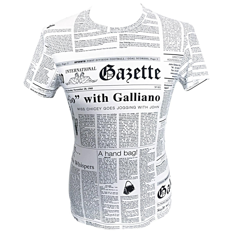 93a915625d Iconic John Galliano Unisex Newspaper Newsprint Black and White Tee T Shirt  Top…