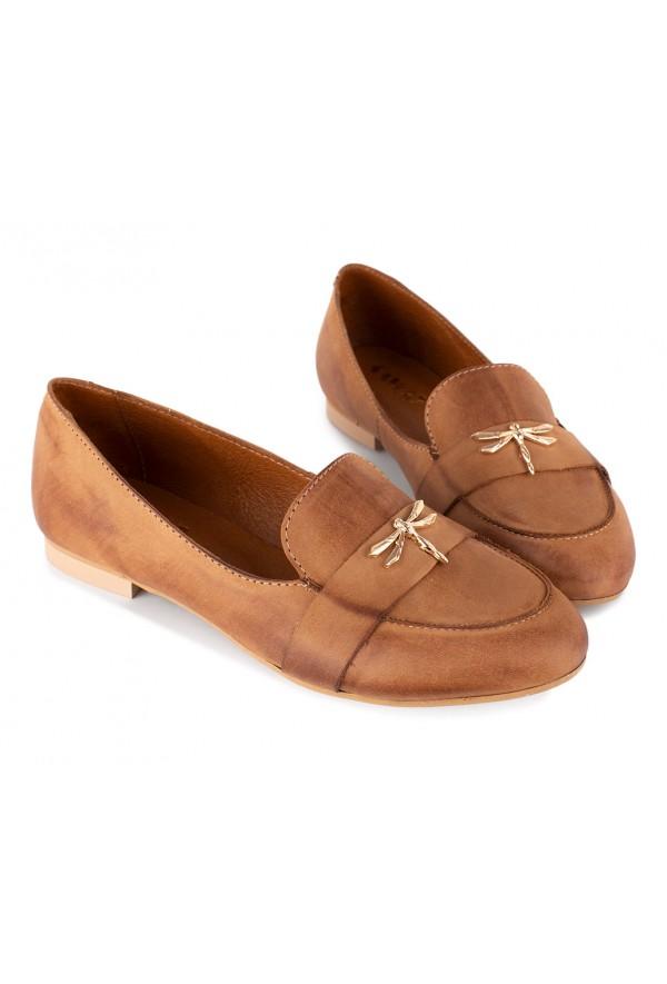 Brazowe Baleriny Shelley 3992 Naturalna Skora Wloska Loafers Shoes Fashion