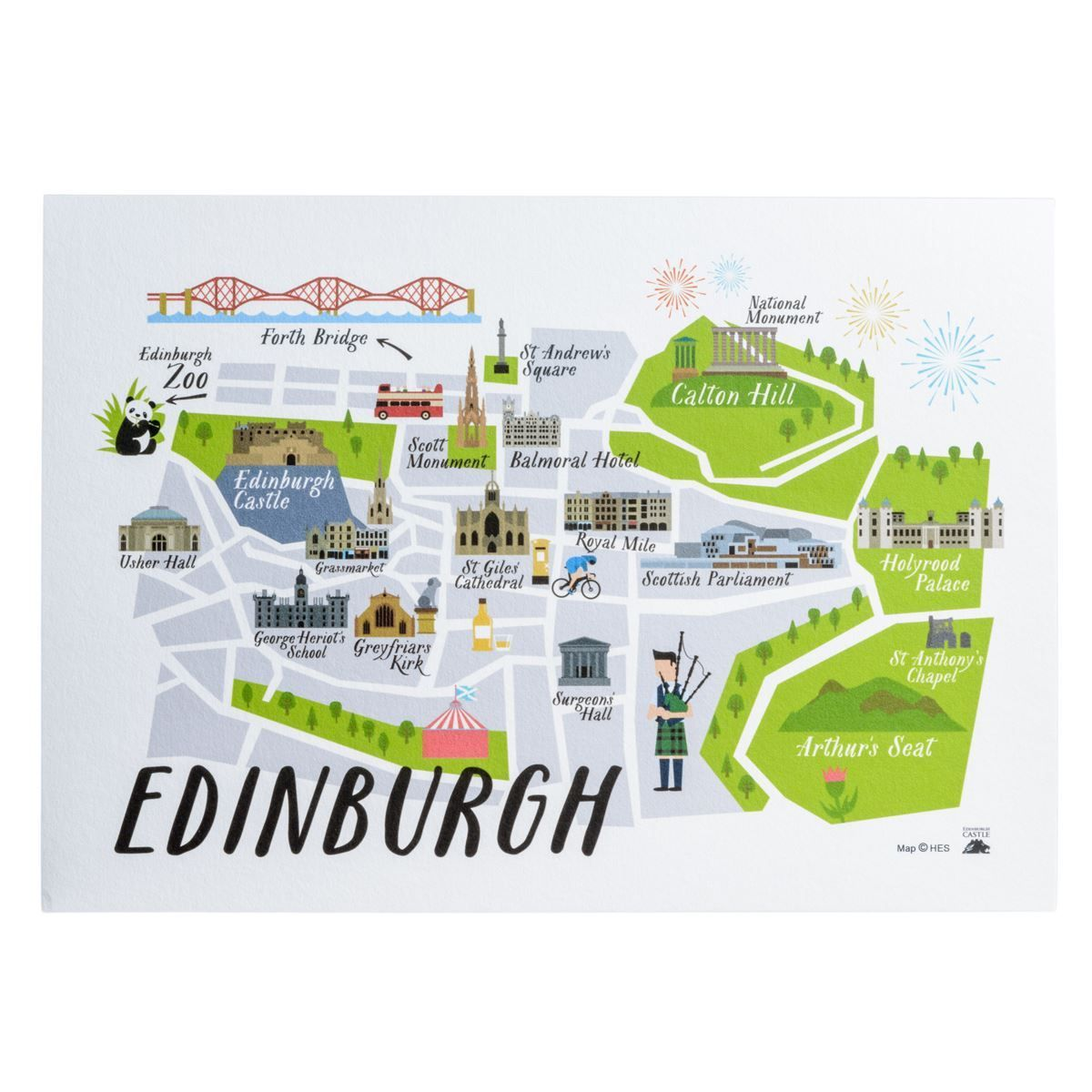 Edinburgh Map tea towel View or buy now HES Scotland