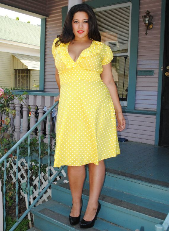 Womens, Ruffled V neck ,Plus Size Dress YELLOW Polka Dot ...
