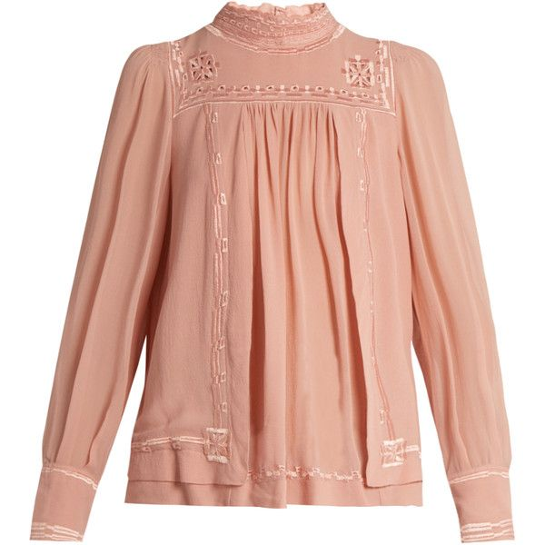 Isabel Marant Maeva high-neck embroidered silk blouse (98680 RSD) ❤ liked on Polyvore featuring tops, blouses, sheer sleeve blouse, pink slip, embroidered blouse, pink sheer blouse and red slip