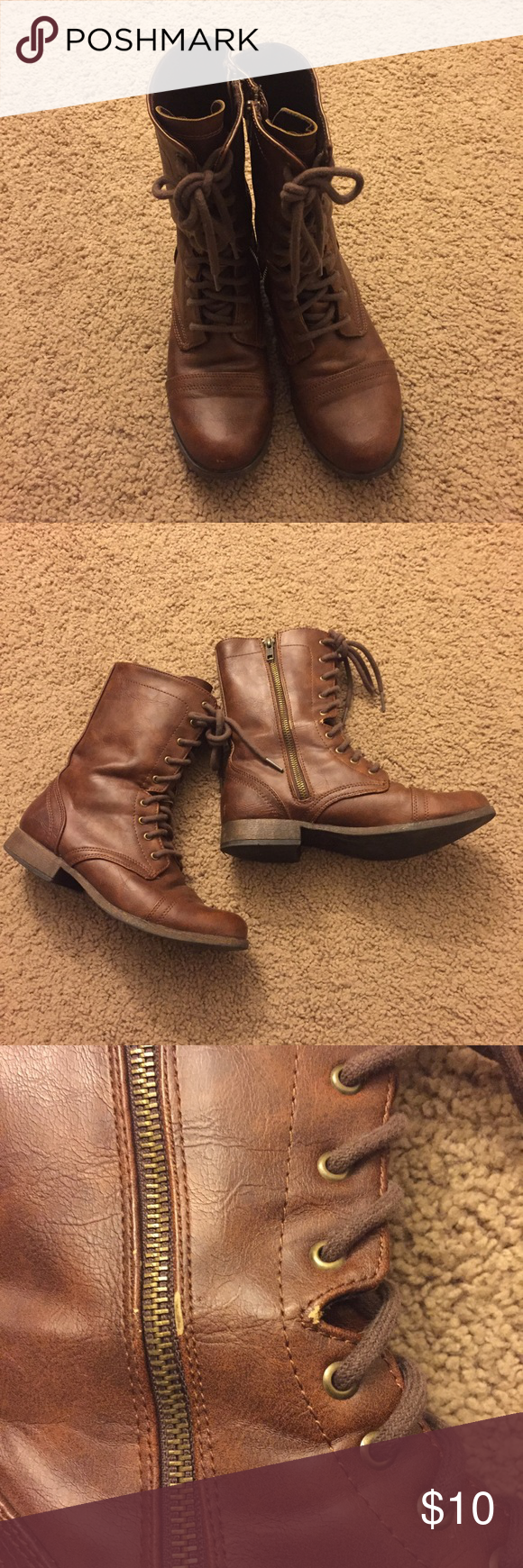 Brown combat boots Size 6.5. Bought these from Target. Brown faux leather combat boots with a small heel. Has zipper closure on the sides in addition to the laces. Heels are slightly worn as reflected in the price. Minor wear shown in picture. Mossimo Supply Co. Shoes Combat & Moto Boots