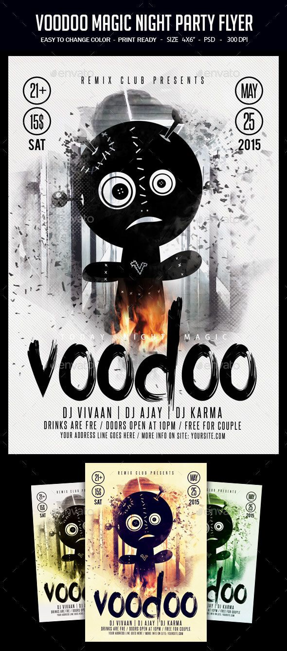 Voodoo Magic Night Party Flyer | Party events, Template and Halloween