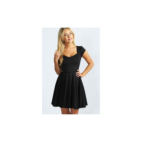 Lara Sweetheart Neck Skater Dress via Polyvore featuring dresses, sweetheart neckline dress, sweetheart skater dress, sweetheart neckline skater dress, sweetheart dress and sweet heart dress