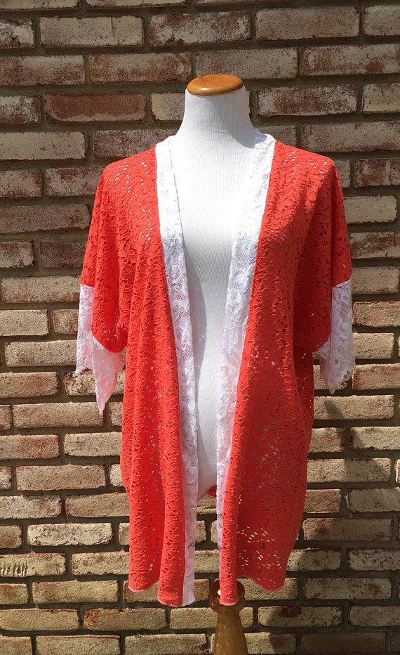 Coral Kimono Cardigan, Kimono Jackets, Boho Chic Longer Length ...