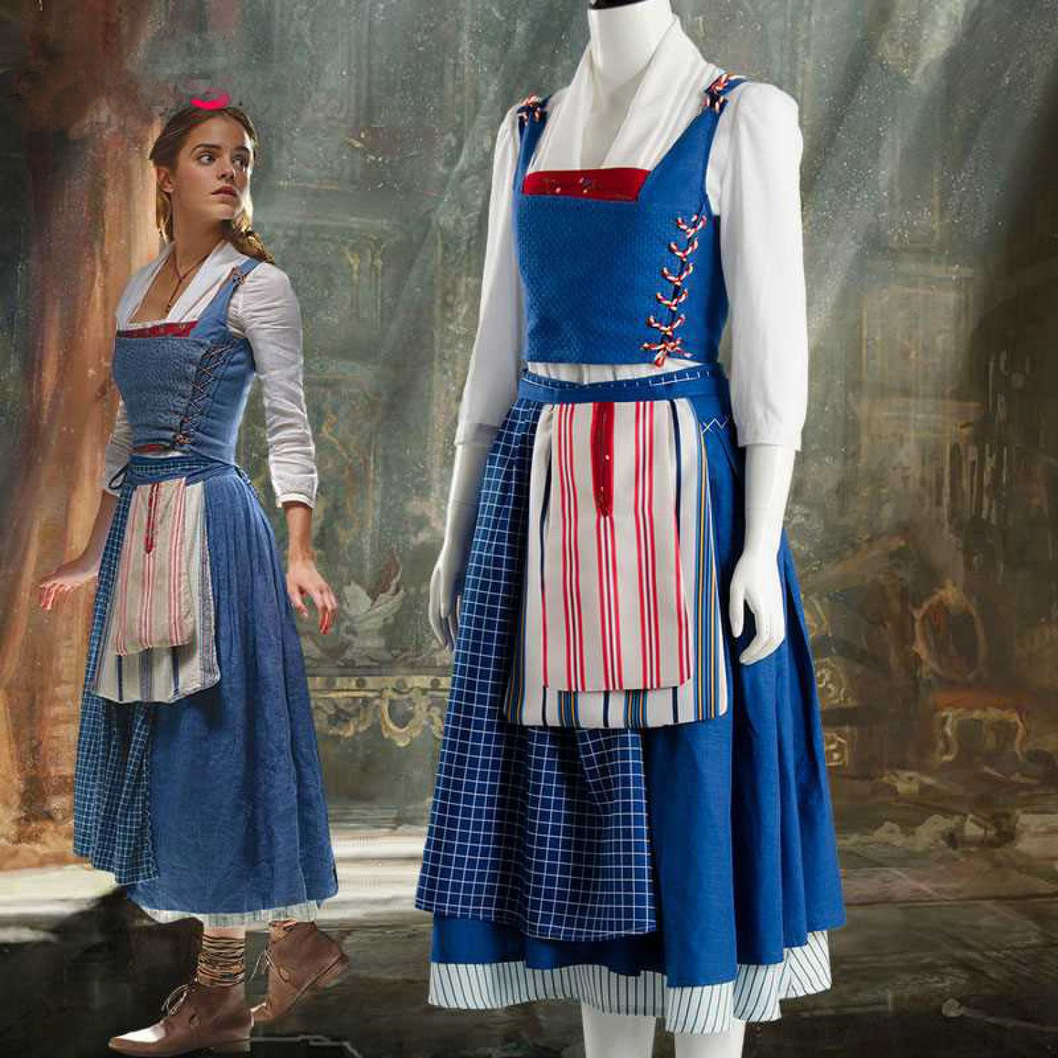 Beauty and the Beast Belle Maid Cosplay Dress Emma Watson Full Outfit