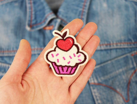 Pink Strawberry Cupcake with Hearts Sew On Patch