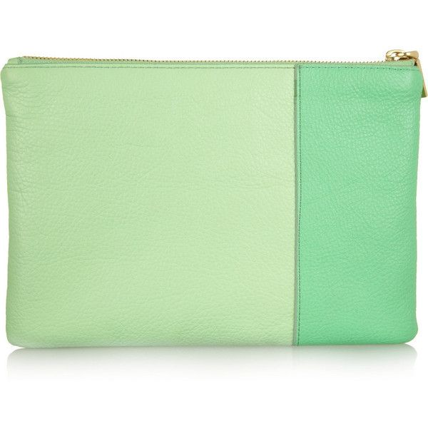 J.Crew Two-tone textured-leather pouch ($23) ❤ liked on Polyvore featuring bags, handbags, clutches, purses, two tone purse, zipper pouch, zipper purse, green clutches and mint purse