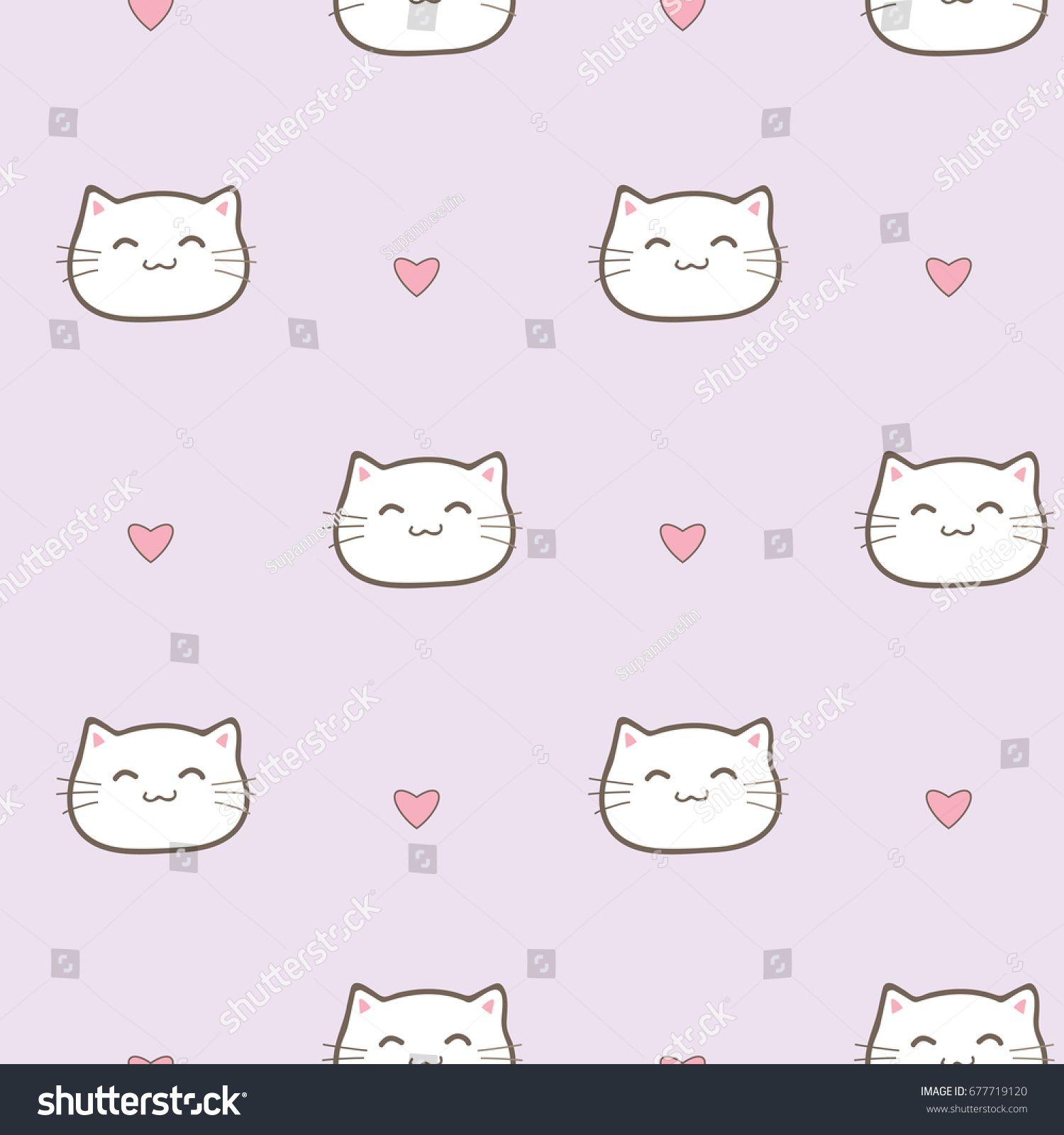 Seamless Pattern Of Cute Cartoon Cat Face On Pastel Purple Background Cartoon Cat Cat Background Cat Face