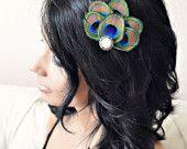 Jasmine - Peacock Feather Hair Clip. $18.00, via Etsy.