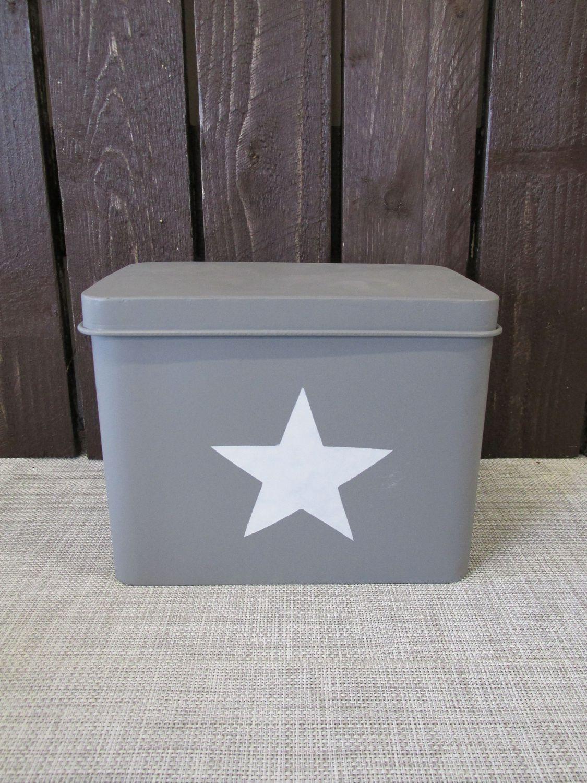 premium valinta valtava myynti sulavalinjainen Metallinen säilytyslaatikko, tähdellä. Harmaa. | Tähti | Decor