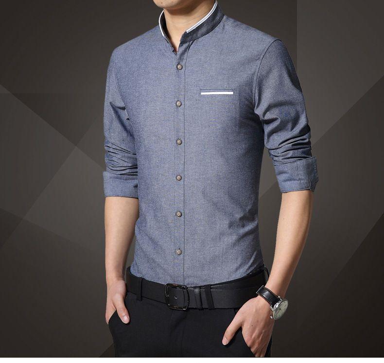 Men solid shirts linen shirt long sleeve mandarin collar for Chinese collar shirts for men