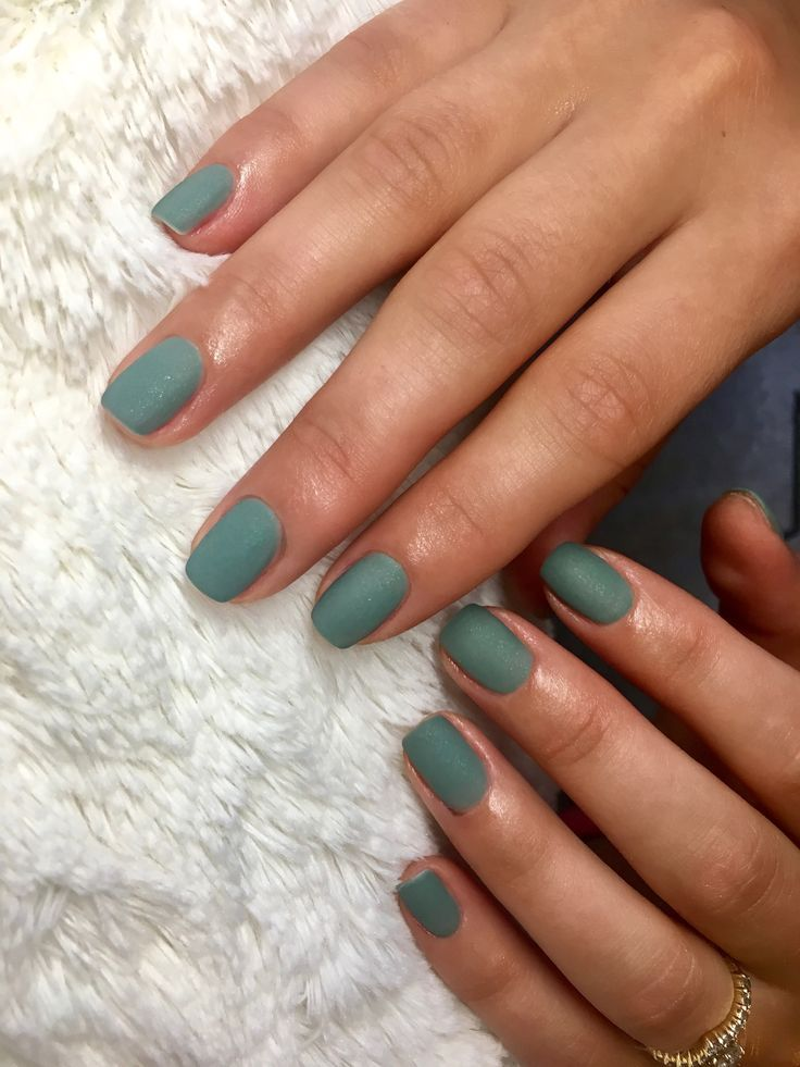 Photo of Hunter green matte shellac nails