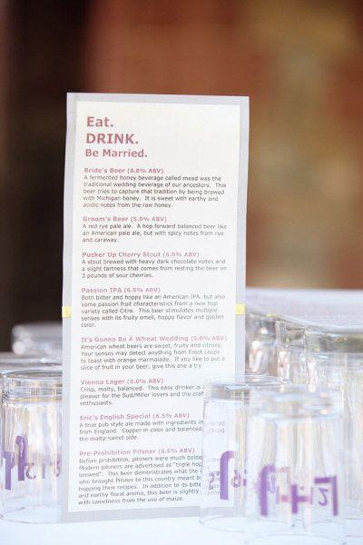 Drink menu Alisse\u0027s wedding Pinterest Weddings