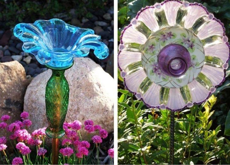 Glas geschirr kreativ im garten verwenden basteln for Gartendeko aus glas
