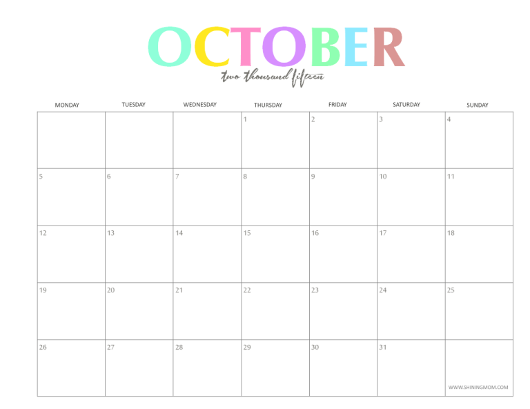 the colorful 2015 monthly calendars by shiningmomcom are here