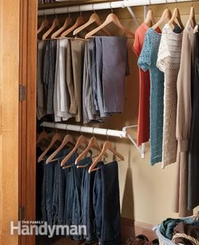 Closet Rod Extender: Add A Lower Closet Rod To Gain Extra Hanging Space In  Your Closet