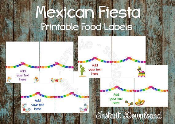Printable Mexican Fiesta Food Labels 8864d3376b4