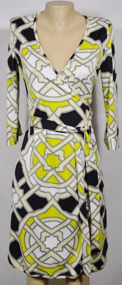 12a5ae550e981e JULIE BLUE JB BY JULIE BROWN White Ivory Black Chartreuse Wrap Dress Small   JulieBrown  WrapDress  Casual